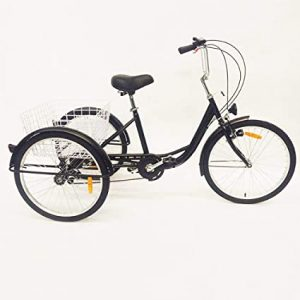 """Tricycle Adulte 24"""" 3 Roues 6Vitesse Velo Tricycle Adulte Bicycle Trike w/Basket"""