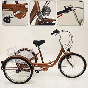YiWon Tricycle Adulte- 24 Pouces 6 Vitesses 3 Roue Vélo Senior Tricycle Cargo Vélo Shopping Tricycle Vélo + Panier + Lampe Or
