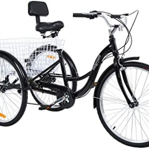 """MuGuang Tricycle Adulte 26"""" 3 Roues 7 Vitesse Velo Tricycle Adulte Bicycle Trike Cruise + Basket (Noir)"""