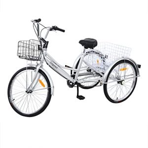 MuGuang Tricycle Adulte 24 Pouces 3 Roues 7 Vitesse Velo Tricycle Adulte Bicycle Tricycle Cruise + Basket (Argent)